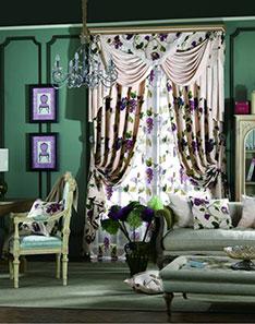 紫色印花窗帘