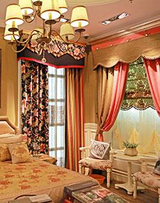 暖色雕花奢华窗帘